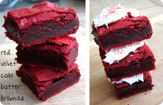 These red velvet cake batter brownies look pretty unreal