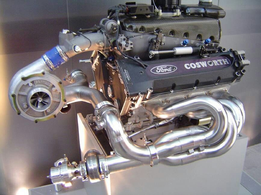 Ford Cosworth Dual overhead came Turbo-Charged small block.