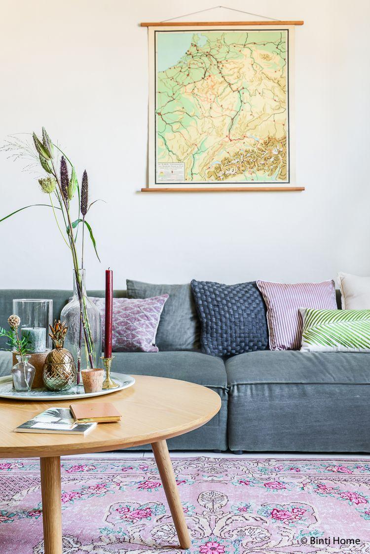 Herfstkleuren in de woonkamer en vintage elementen