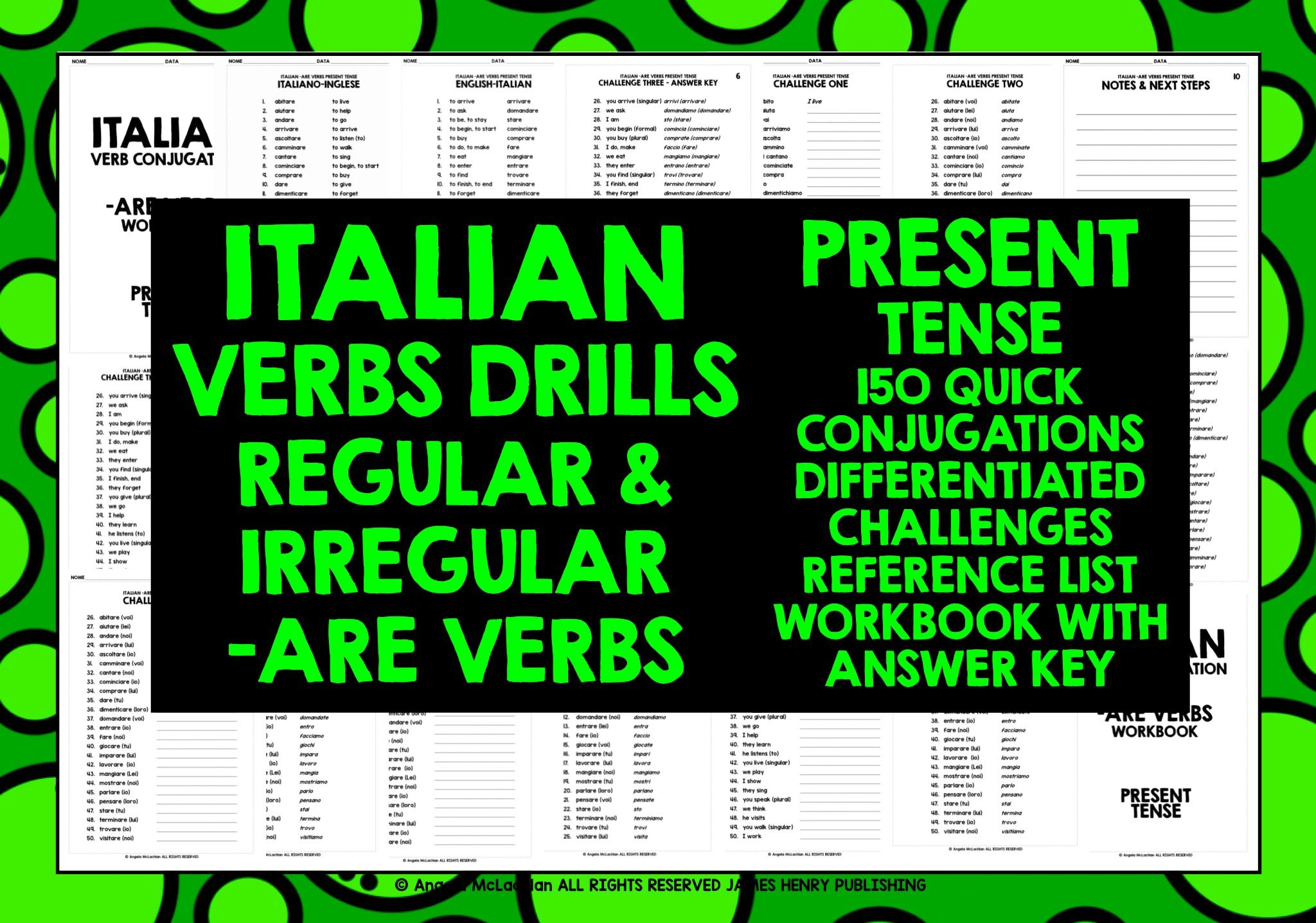 Italian Are Verbs Conjugation 1 Verb Conjugation Present Tense Verbs Student Encouragement