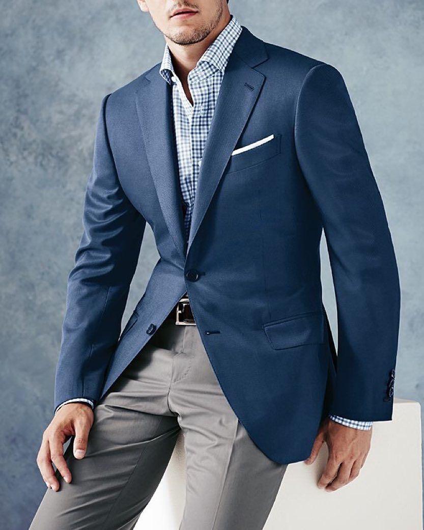 Light Gray Dress Pants/Trouser, Blue, White Plaid Shirt