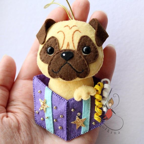 Dog Felt, Pug-dog, husky toy, corgi felt toy.Felt Christmas toys #felttoys