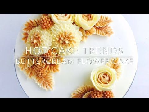 HOT CAKE TRENDS 2016 Buttercream Water Lily cake - How to make by Olga Zaytseva - YouTube