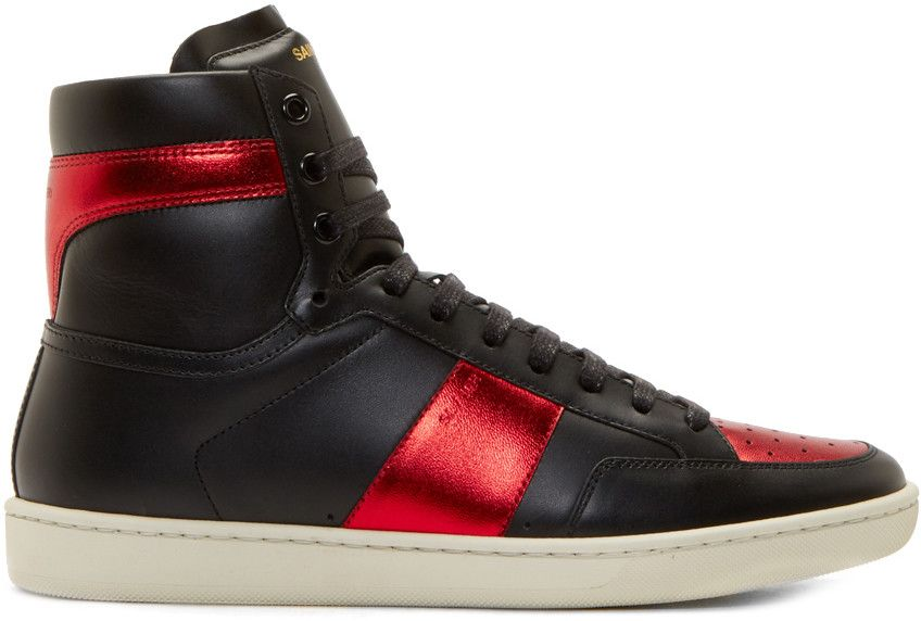 Red Leather High-Top Sneakers