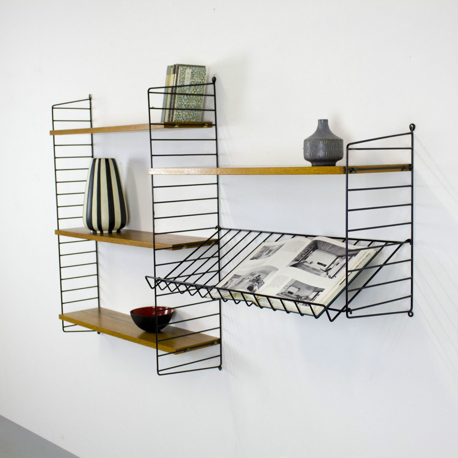 original shelving system string by nisse strinning sweden. Black Bedroom Furniture Sets. Home Design Ideas