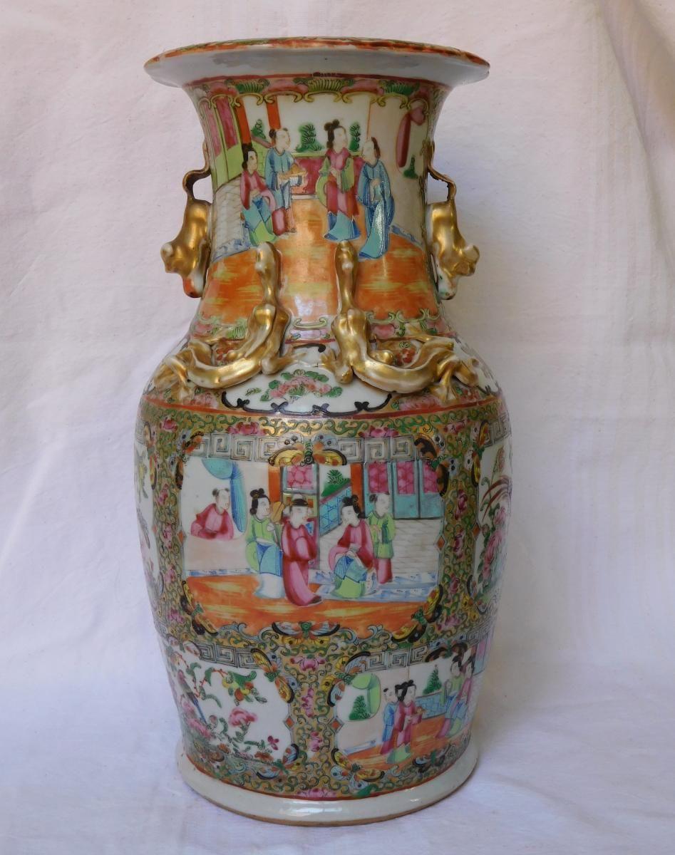 grand vase potiche en porcelaine de canton chine vers 1880 35 5cm gslr antiques proantic. Black Bedroom Furniture Sets. Home Design Ideas