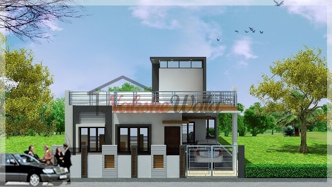 Single Storey Elevation 3d Front View for Single Floor front