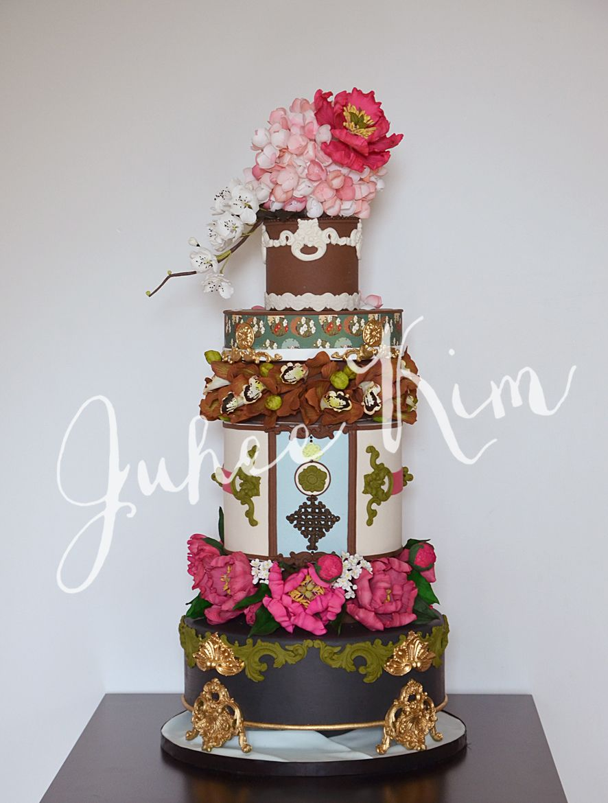 Asian themed Wedding cake by Juhee Kim. | Tartas decoradas ...