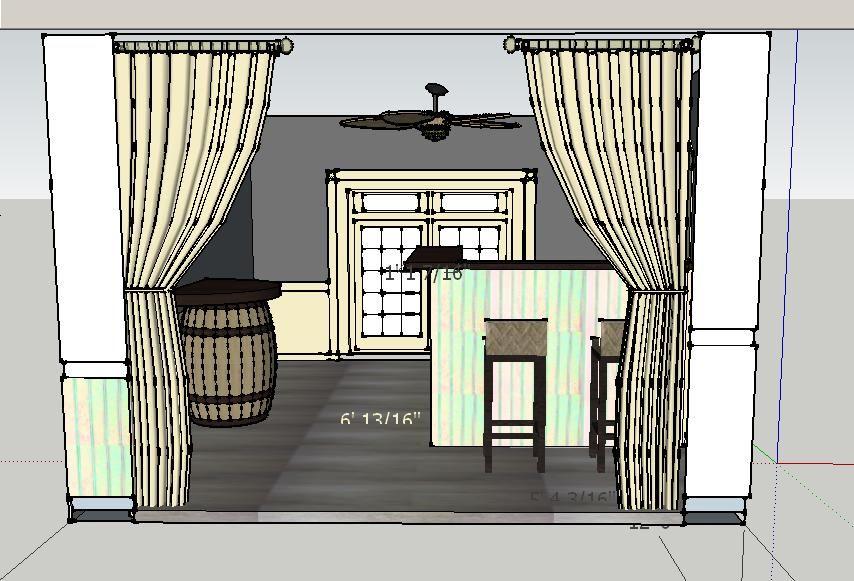 Bar, stools. Wine barrel inspired table, top matches bar top.  Valspar Academy Gray (5001-2A) on upper walls. Below chair rail, bead board on bar is Valspar On the Rocks (ar917).