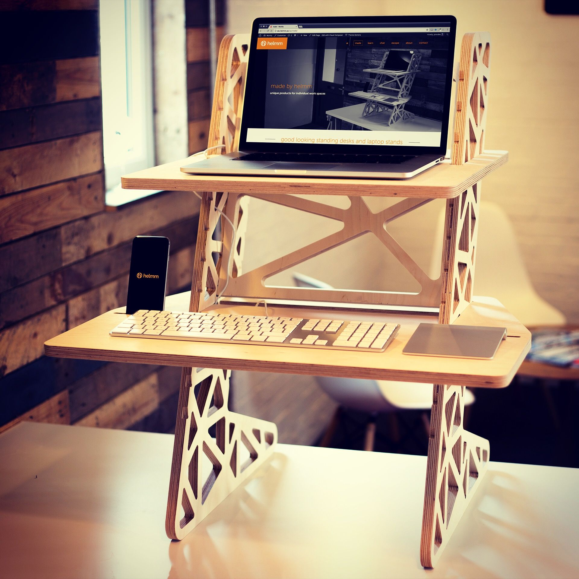 Plywood, adjustable height standing desk converter: £235