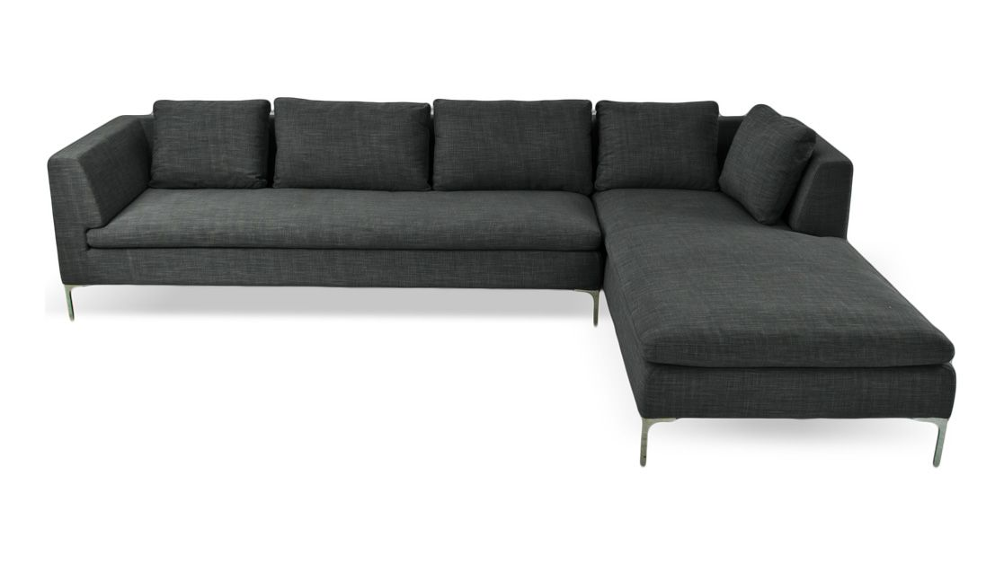 Mayfair Dark Grey Sectional Sofa (L)Mayfair Sectional Sofa Dark Grey  Viscose Blend Right $1,899.00