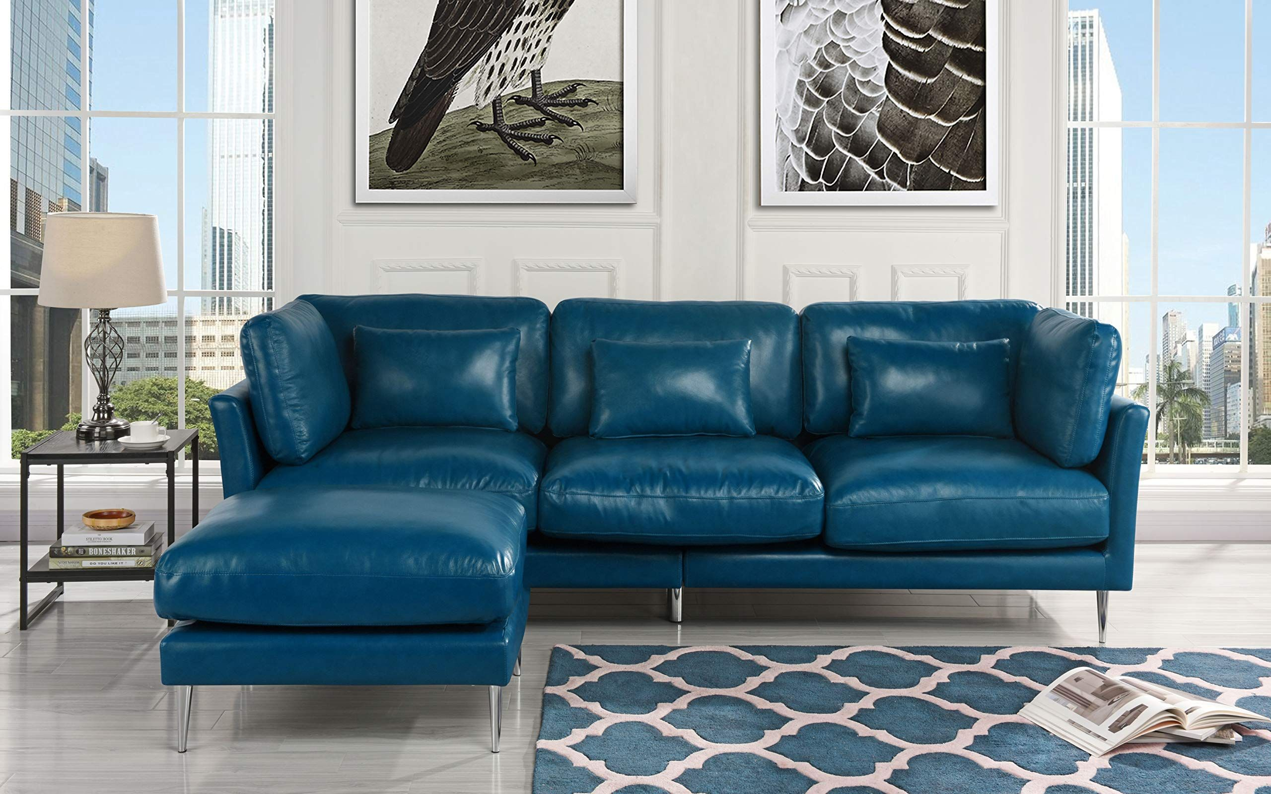 Modern Leather Sectional Sofa L Shape Couch Navy Blue You Can