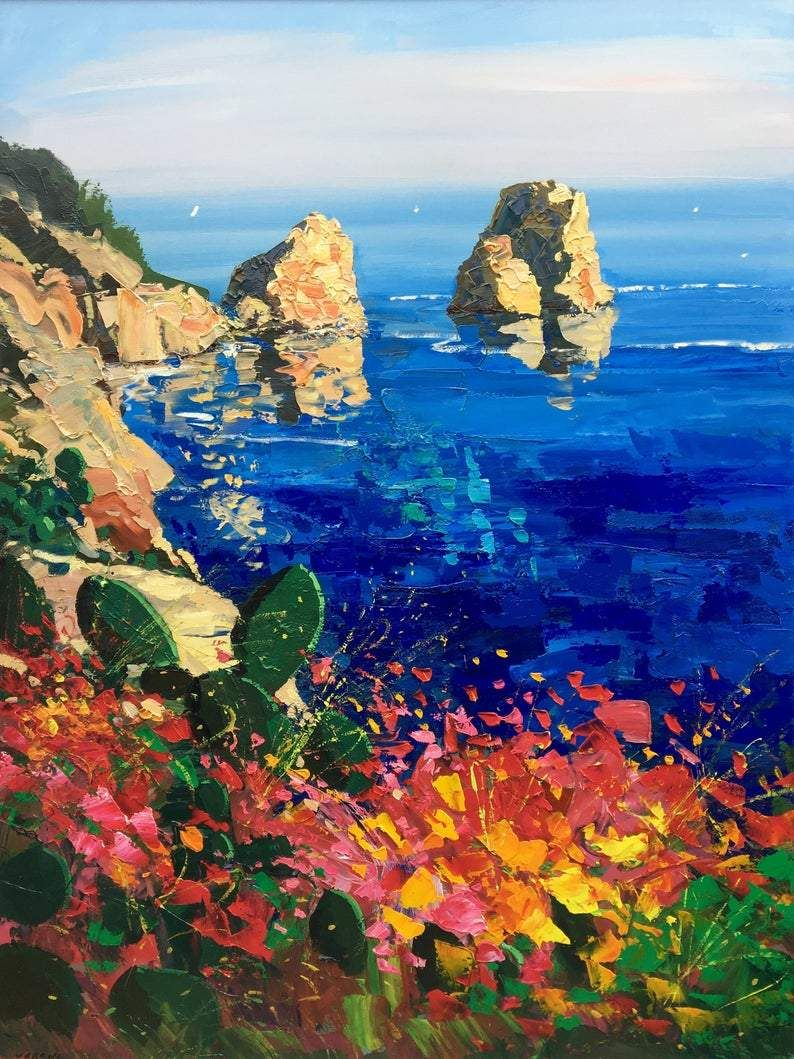 Photo of Island of Capri painting on canvas, Original Art, Italy Painting, Impressionist Seascape Painting, Vertical Living Room Art, Large Wall Art