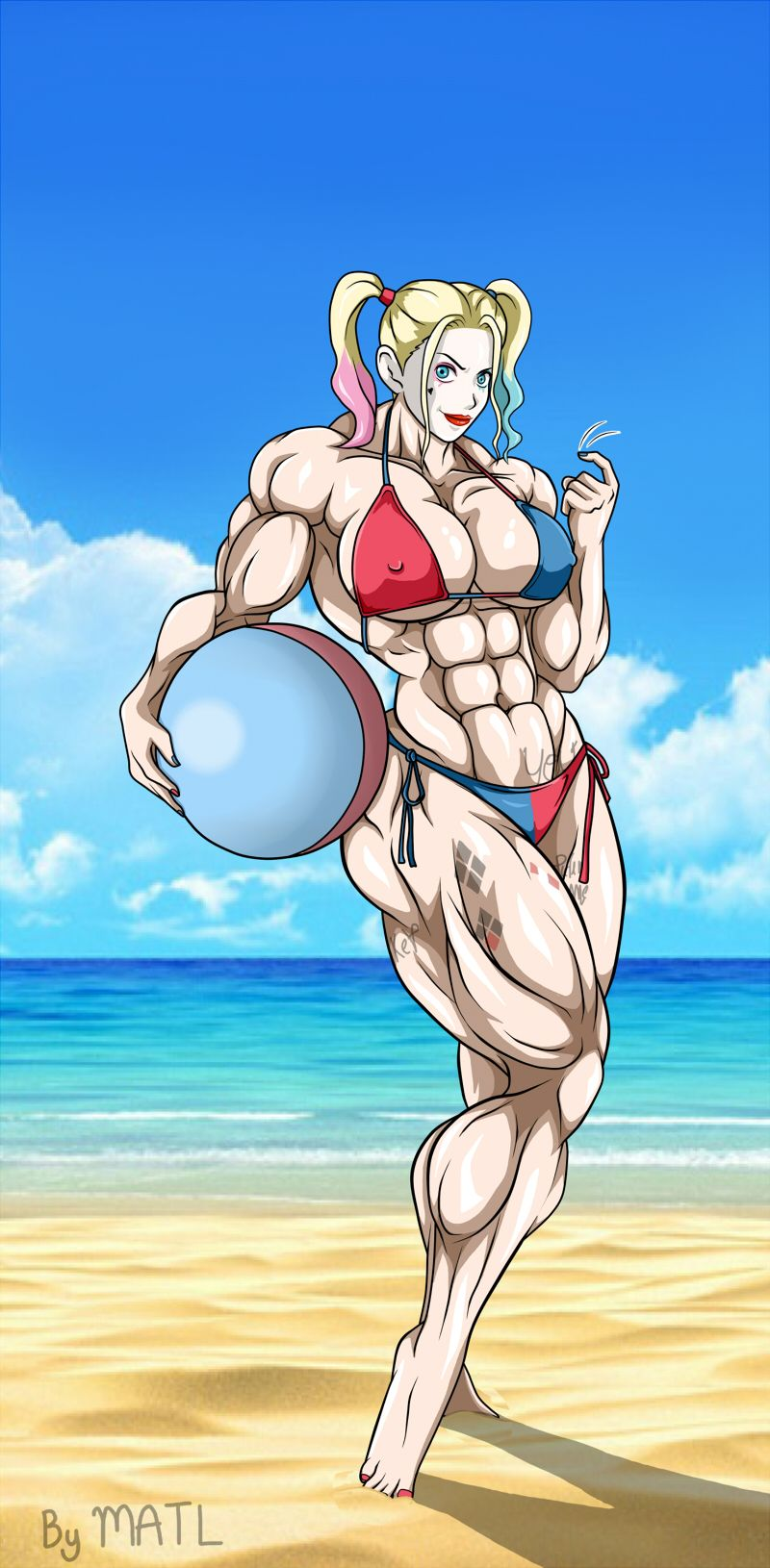 harley at the beachmatl on deviantart | muscle girl art in 2019