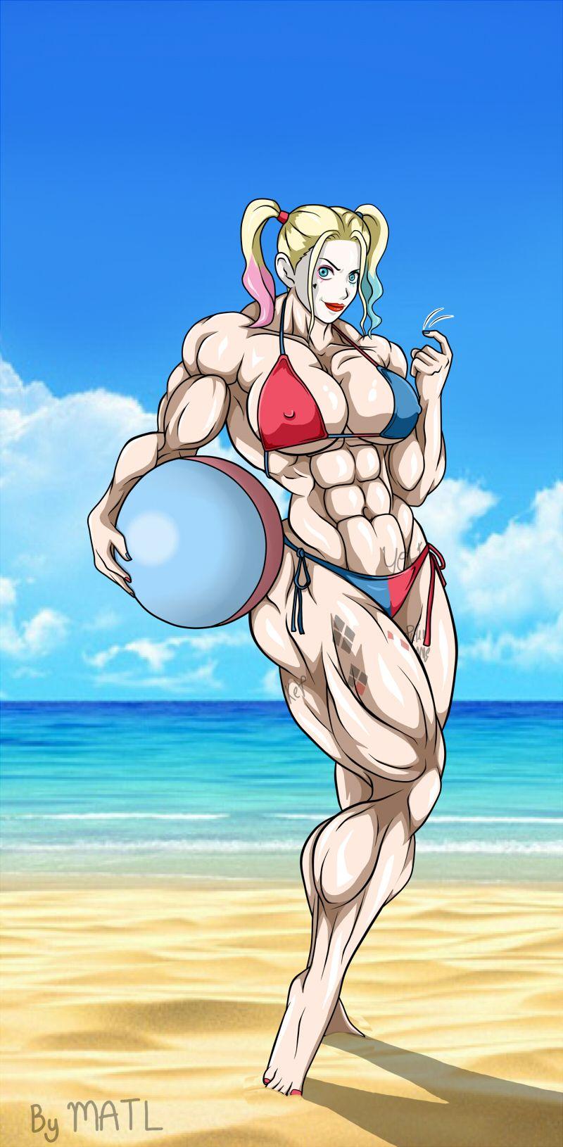 Harley At The Beach By Matl On Deviantart Muscle Girls Harley Quinn Beach