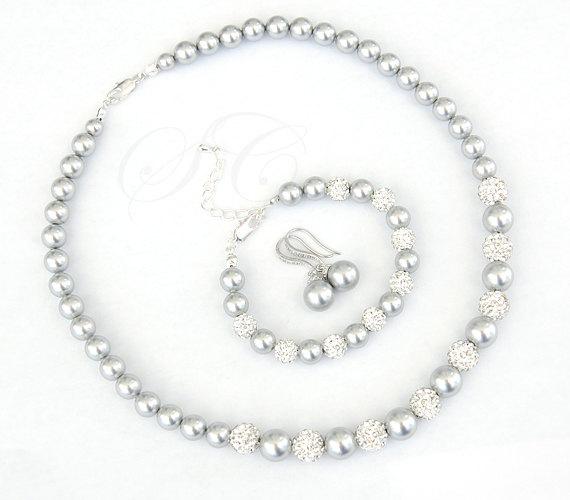 Grey Pearl Jewelry Set Bridal Wedding Swarovski Cubic Zirconia