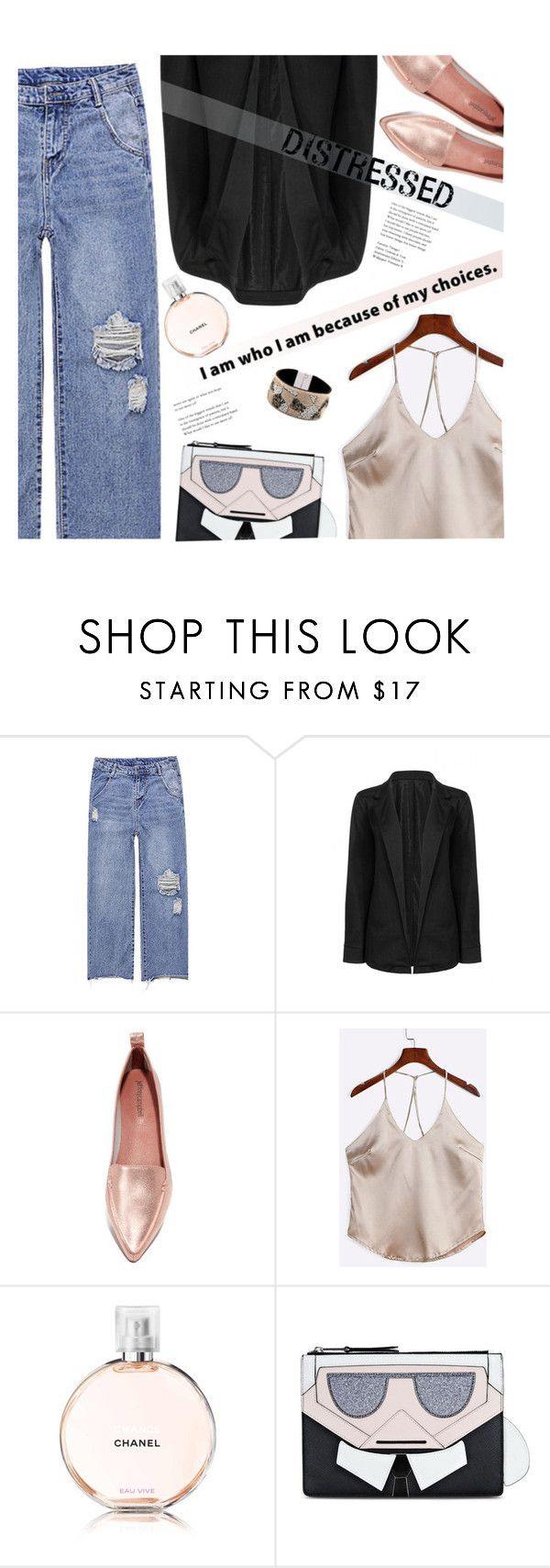 """True Blue: Distressed Denim"" by meyli-meyli ❤ liked on Polyvore featuring Jeffrey Campbell, Karl Lagerfeld and distresseddenim"