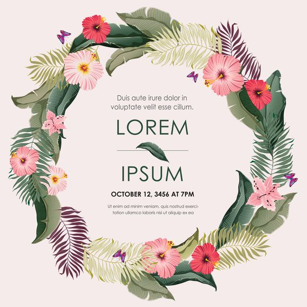 Free EPS file Autumn invitation card template with flower vector ...