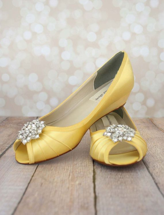 May The Sun Shine Just As Beautifully On Your Wedding Day When You Wear These Custom Wedding Yellow Wedding Shoes Wedge Wedding Shoes Rhinestone Wedding Shoes