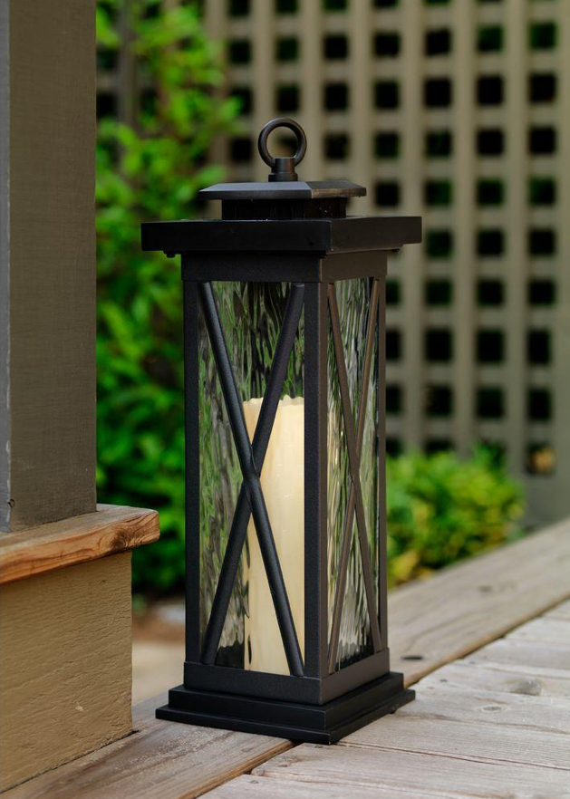 This solar lantern would blend right in with traditional patio