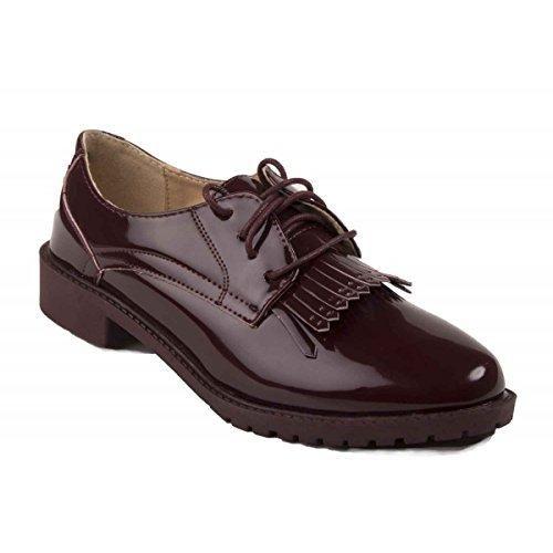 ClassyDude Zapatos de Cordones de Material Sintético Para Hombre Rojo Granate p0TZUb