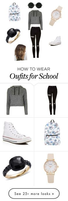 """First day of school kind of outfit"" by nadia-duran14 on Polyvore featuring Topshop, Converse, Disney and Pomellato"