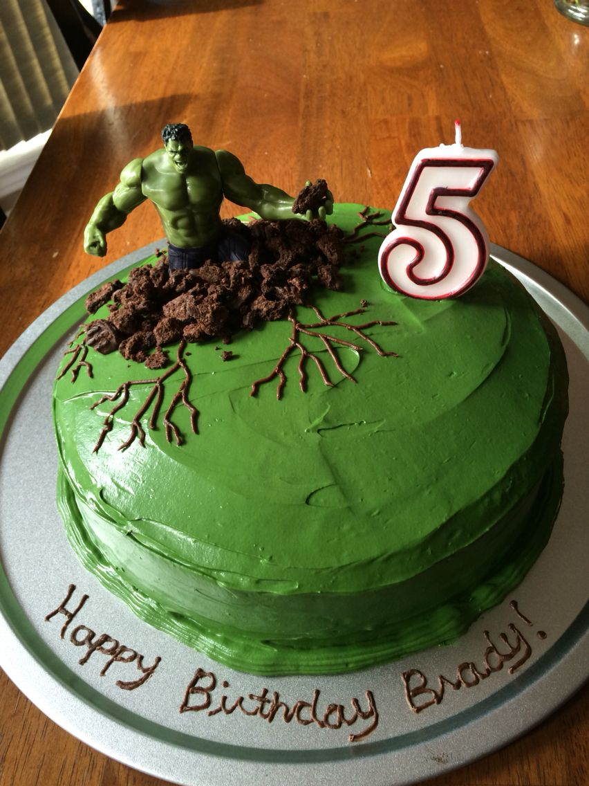 Easy Hulk Cake Green Ercream Icing With Crushed Cookies Around Him My 5 Year Old