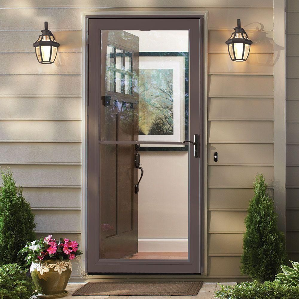 Andersen 36 In X 80 In 3000 Series Terratone Right Hand Self Storing Easy Install Storm Door With Oil Rubbed Bronze Hardware 3soezr36te The Home Depot In 2020 Aluminum Storm Doors Front Door With