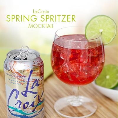 Spring Spritzer Mocktail With Lacroix Sparking Water Recipe Alcohol Free Drinks Mocktail Recipe Mocktails