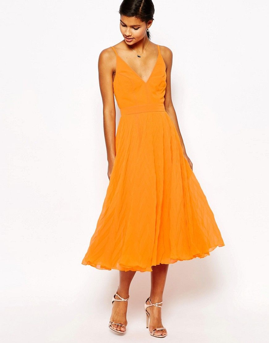 Image 1 of ASOS Chevron Textured Pleated Cami Midi Dress | Style ...