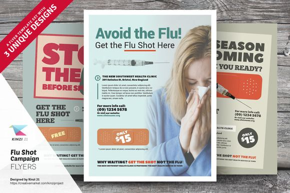 Flu Shot Campaign Flyer Templates By Kinzi On Creativemarket