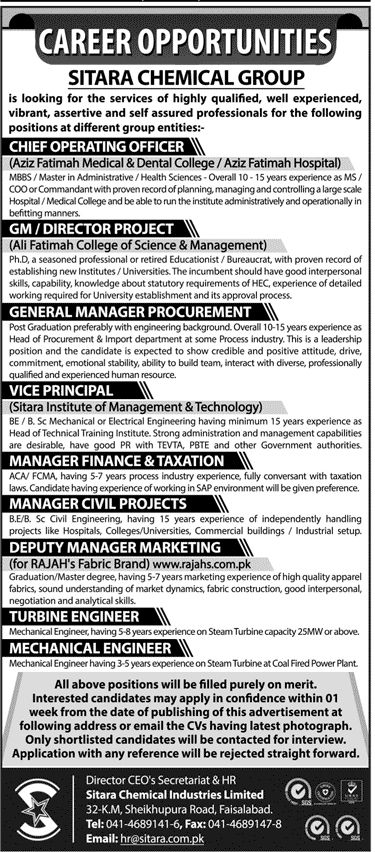 Sitara Chemical Industries Limited Jobs 2017 In Faisalabad For CEO - chief executive officer job description