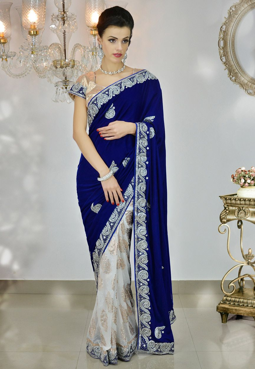 Royal blue and off white velvet saree with blouse online shopping