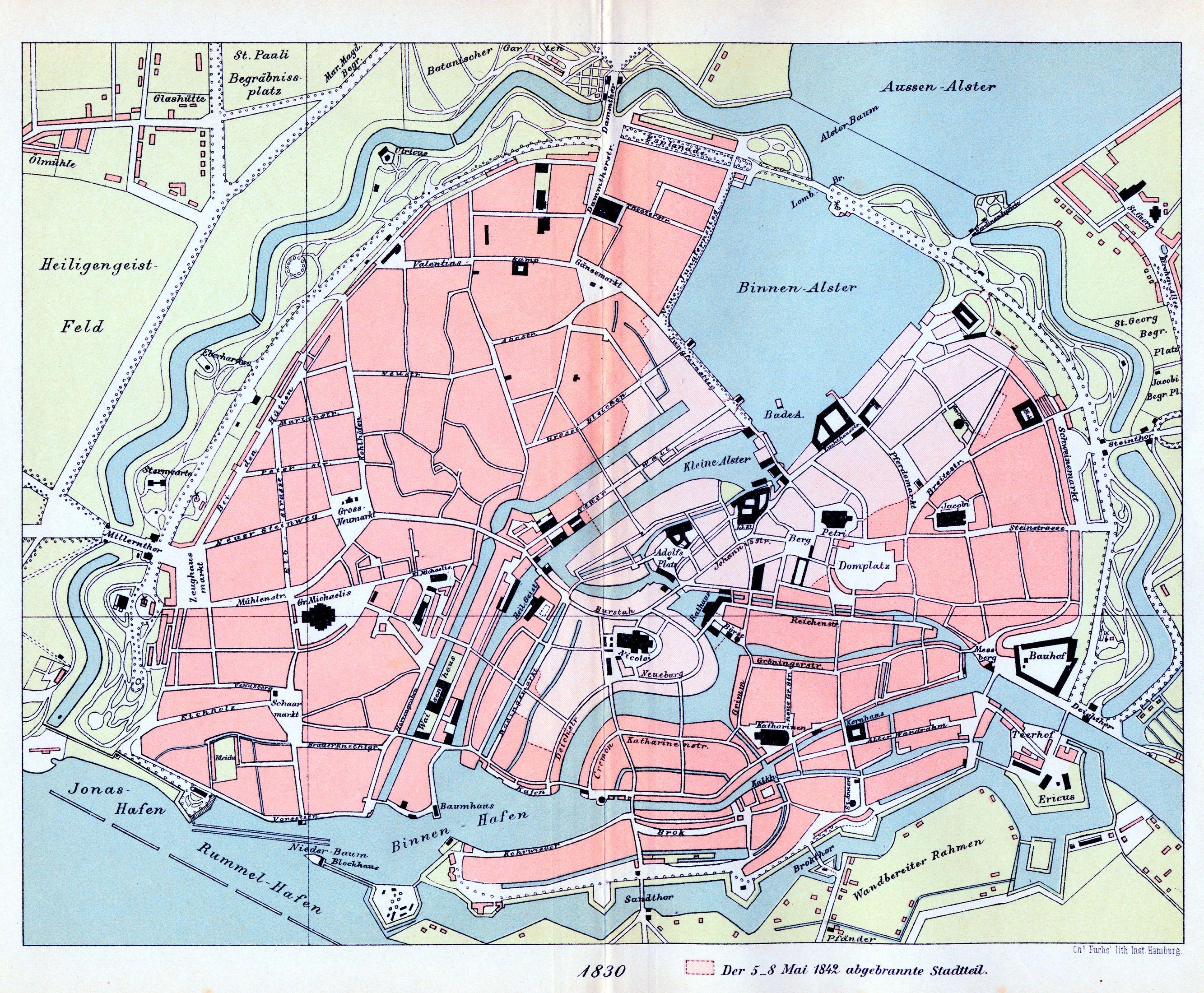 Karte Hamburg 1830 Aus E H Wichmann Atlas Zur Geschichte