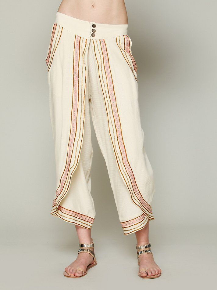 Free People Embroidered Wrap Harem Pants at Free People Clothing ...