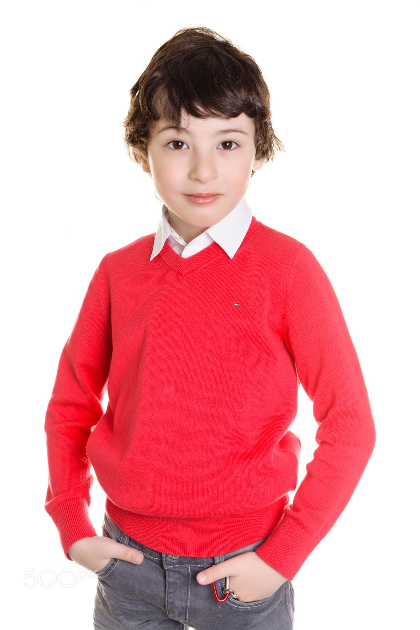 Portrait of a boy on a white background. - null