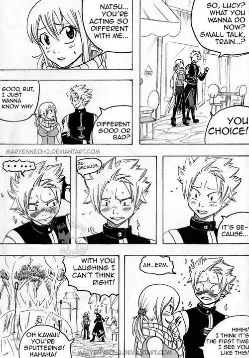 Nalu!!! Aww Lucy is wearing Natsu's scarf! | Fairy Tail | Fairy tail