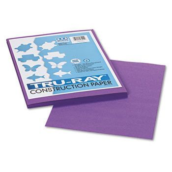 Tru-Ray Construction Paper, 76 Lbs., 9 X 12, Violet, 50 Sheets/pack