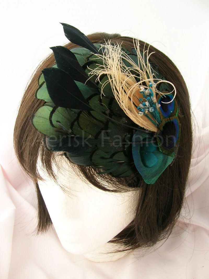 Derby feather fascinator - Peacock feather on Iridescent green feather applique -  AVERIE design  - Choose headband, comb, or hair clip. $21.00, via Etsy.