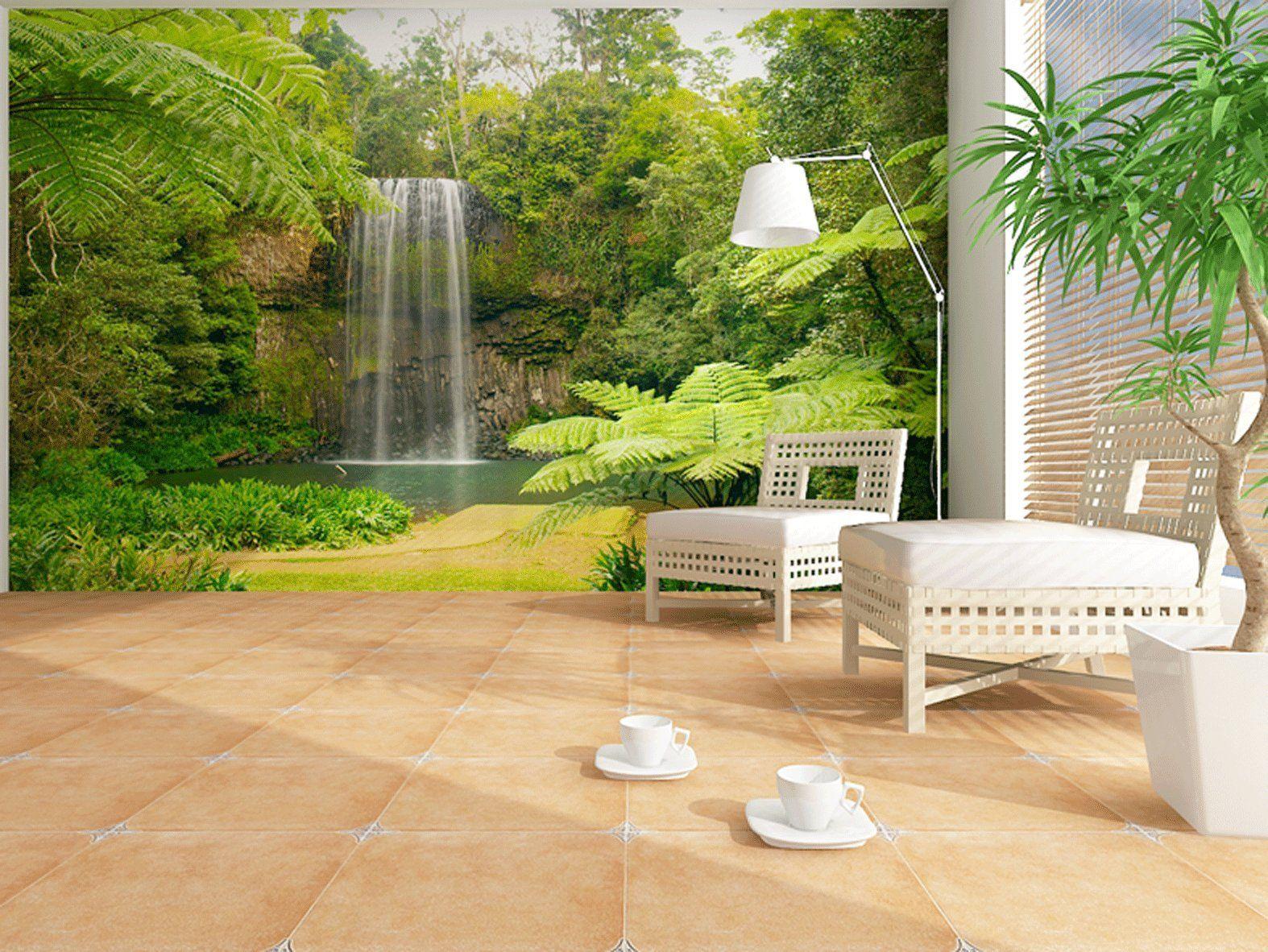 Fototapete Tropischer Wasserfall Grosse 360 X 270 Cm Vierteilig Amazon De Kuche Haushalt Aussenwanddekorationen Fototapete Wandbild Wand