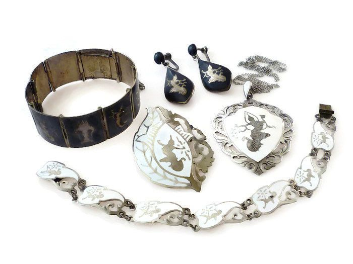 Siam Sterling Silver Jewelry Lot Bracelets, Brooch, Necklace, Earrings 78 Grams  #SiamSterling