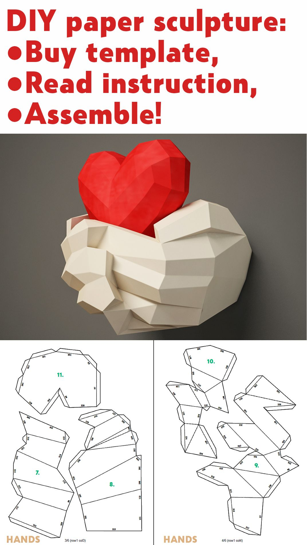 Paper Craft Hands With Heart Papercraft 3d Wall Decor Diy Gift