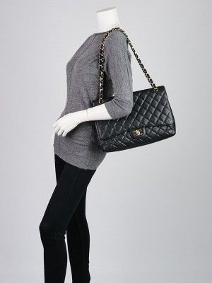 bad736a74510 Chanel Black Quilted Caviar Leather Classic Maxi Single Flap Bag - Yoogi s  Closet