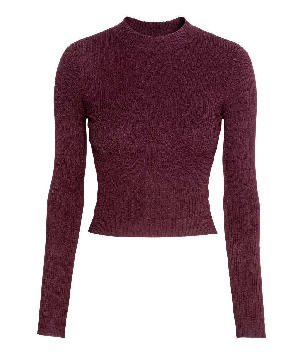 Short, ribbed mock turtleneck sweater with long sleeves. | H&M ...