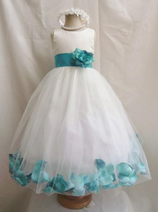 1c44bd6d3079 Flower Girl Dress IVORY Teal PETAL Wedding Children Easter ...