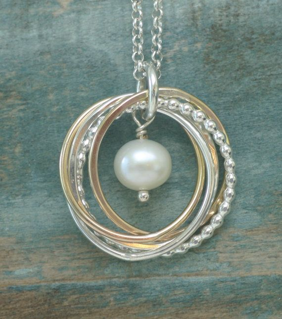 Pearl Necklace 50th Birthday Gift 5 Linked By