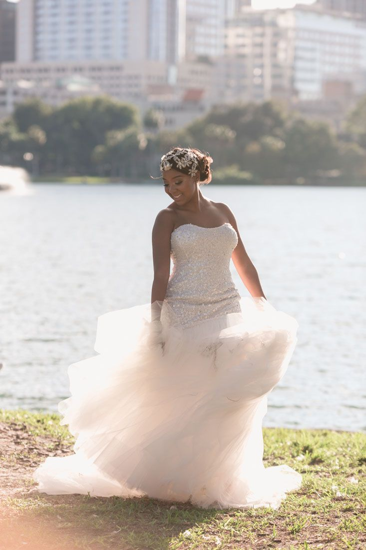 Black and white themed wedding at Lake Eola at the Mezz captured by ...