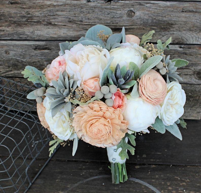 Sola Flower Bridal Bouquet - Faux Succulents, Silk Flowers, Peonies, Cottage Roses, Dusty Miller