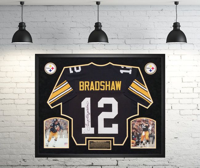 3e356c34535 Terry Bradshaw Pittsburgh Steelers Autographed Jersey - Custom Framed  Shadow Box PSA Certified. 4x Super Bowl Champion