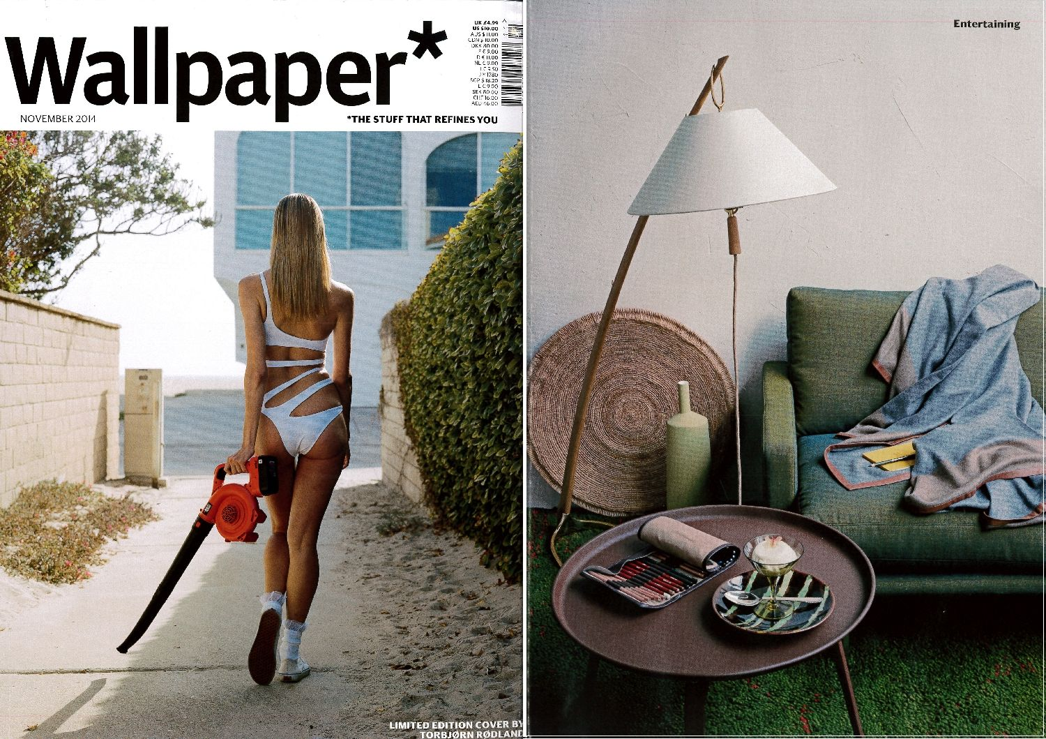 Wallpaper* Magazine_November issue 2014_featuring the Dornstab floor lamp http://werkstaetten.kalmarlighting.com/page.php?s=products&p=product&pSez=0&pPro=1&pName=dornstab in oak and polished brass